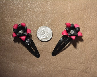 Pink & Black Leather Hair Clips (2)