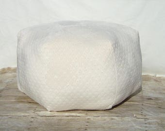 Large Pouf, Soft Cream,  Cozy, Fuzzy Fabric , Fluffy and Cuddly, Polka Dot Pattern, Ottoman, Floor Pillow, Foot Stool