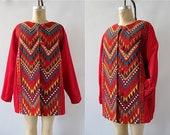 ROW SYMMETRY Vintage 80s Jacket | 1980's Embroidered Geometric Coat | Zigzag Embroidery | Festival, Boho, Folkwear, Southwest | Size Large