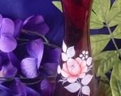 Vintage Ruby Wine Rose Vintage Vase, 1970s