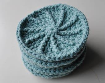 Crochet Ribbed scrubbie Pale Mint green