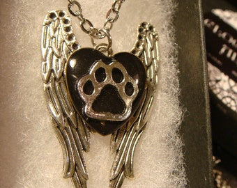 Paw Heart on Angel Wings Necklace (2331)