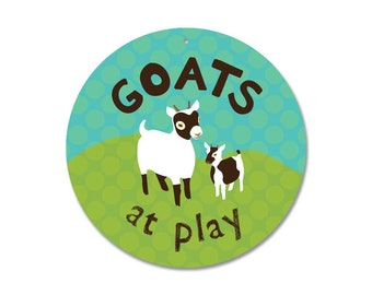 "Goats at Play Outdoor Sign 9"" ROUND  (blue & green)"