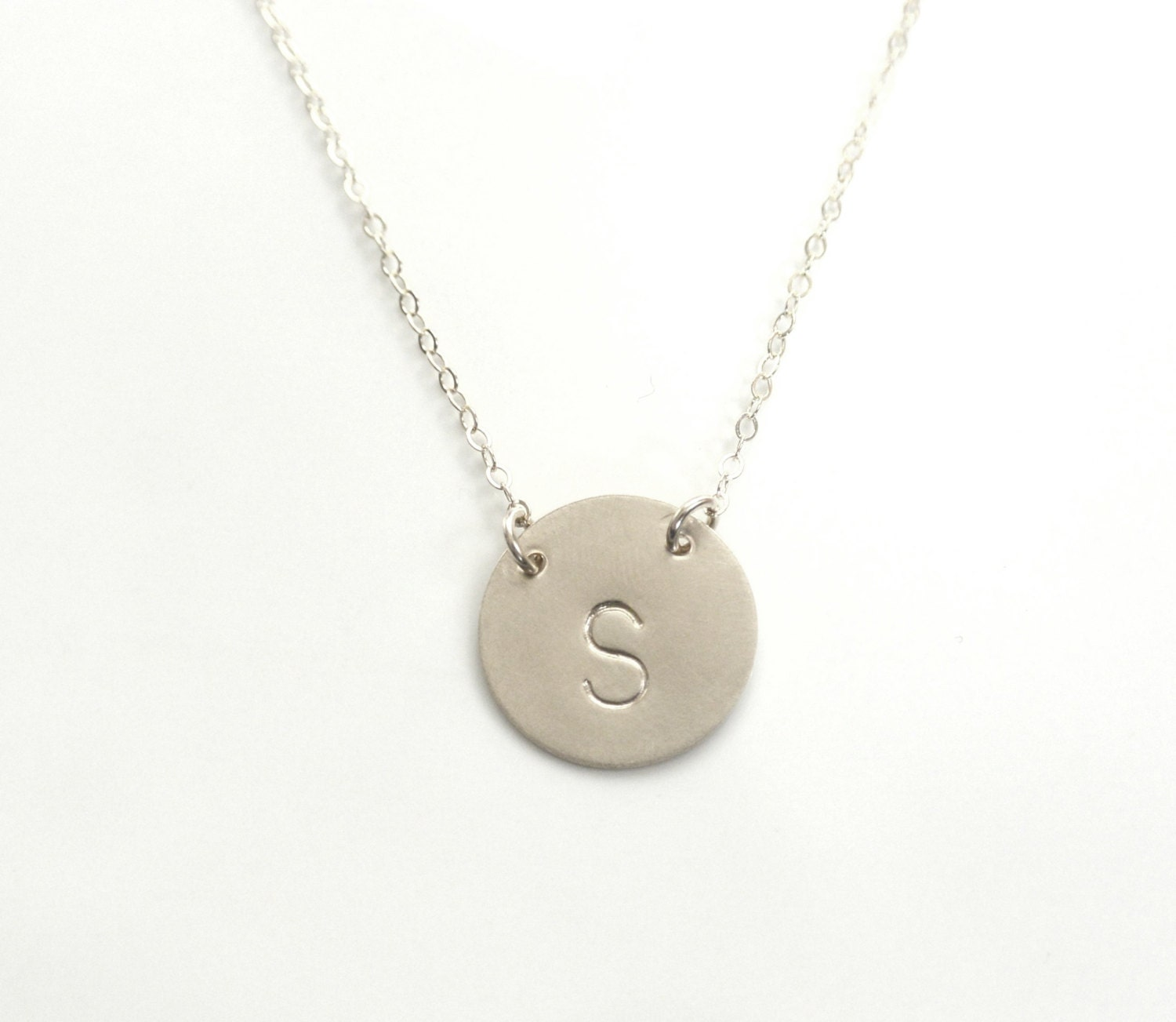 personalized necklace large initial necklace silver monogram