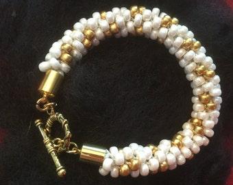 Beaded Kumihimo  Bridal Bracelet in White & Gold