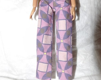 Fashion Doll Coordinates - Lavendar geometric print pants - es434