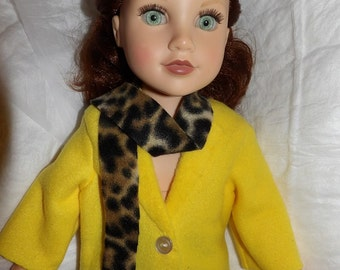 Cute Flece coat in solid yellow with Leopard print scarf for 18 inch dolls - ag318