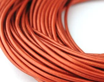LRD0120043) 2.0mm Copper Metallic Genuine Round Leather Cord.  1.2 meter, 3 meters, 7.4 meters.  Length Available.