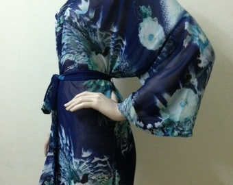 Bridesmaid Navy Floral Robes Wedding Robes Silk Robe Dressing Gown Personalized Robes Kimono Robes Bridal Robe Floral Getting Ready Robe
