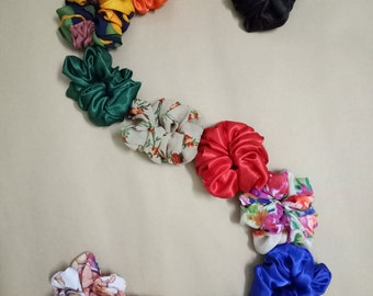 12 Silk Satin Halloween Hair Scrunchies Colorful Scrunchies, Hair Accessories, Halloween gift, orange black green theme Multicolor hair ties