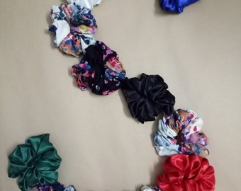 12 Multi color Floral Hair Scrunchies Hand painted silk Handpainted hair tie Silk hair scrunchy Silk hair ties Silk scrunchy Small scrunchie