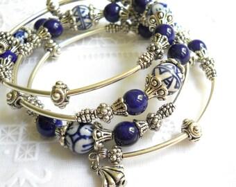 blue memory wire bracelet delft blue jewelry delft blue bracelet multiple strand bracelet blue and white bracelet blue bracelet