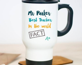Best Teacher Travel Mug | Personalised | Gift | Thermal | Drinkware | Classroom Assistant | Custom