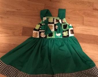 St. Patrick's Day Shamrock Girls dress 2t-6