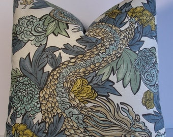 Chinoiserie Ming Dragon by Robert Allen Decorative pillow cover Dwell slubbed cotton BOTH SIDES euro sham square aqua blue gold