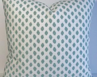 Teal Aqua IKAT dot Lacefield Sahara abstract Designer Decorative pillow cover dot throw pillow BOTH SIDES aqua teal white barkcloth like
