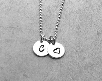Initial Necklace with Heart, Sterling Silver, Letter C Necklace, All Letters Available, Mother's Day Gift, Hand Stamped Jewelry, Everyday