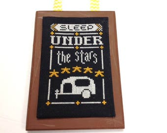 Chalkboard Wall Hanging, Camping, Camper, Cross Stitch, Summer, Stars, Finished and Completed Cross Stitch