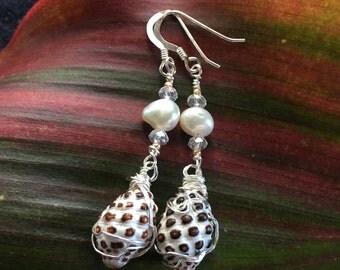 Kauai Grape Drupe Shell Dangle Pearl Earrings