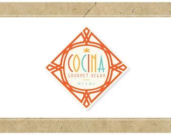 Custom Logo Design - PreDesigned Logo PreMade Logo Vector Logo - OOAK Logo - COCINA Logo - Art Deco Logo - Vintage Logo - Diamond Logo