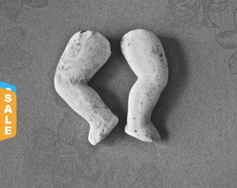 """Closeout - Pair of 2 1/2"""" Bent Baby Doll Legs in Pipe Clay for Altered Art Doll Making"""