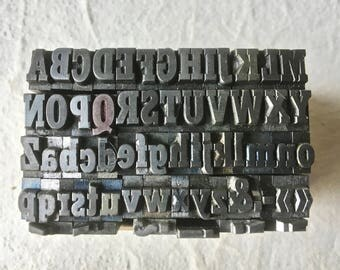 Complete Vintage Letterpress Alphabet with Punctuation for Printing and Stamping