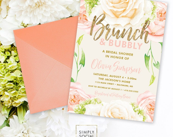 Peach Brunch and Bubbly Bridal Shower Invitation - Peach Peony Rose and Faux Gold Foil Watercolor Floral Boho Shower Invitation Printable