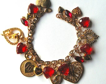 Vintage Charms Sweetheart Bracelet with Rhinestones, Red and Gold