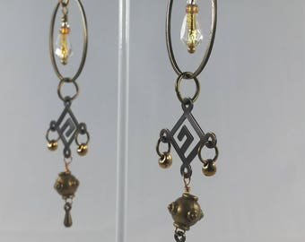 Drops of Crystal and Bronze Magatama and Bronze Bangles and Dangles on Bronze Hooks Steampunk Bellydance Exotic Rocking Earrings