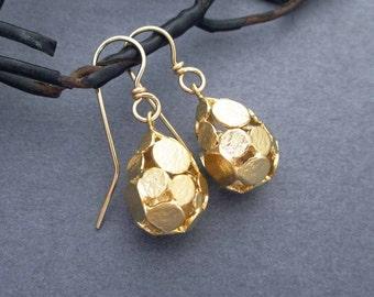 On Sale - Gold Drop Earrings Gold Dangle Earrings Modern Jewelry Geometric Circle Teardrop Earrings