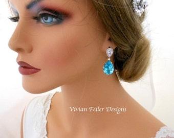 TEAL BLUE Wedding Earrings Jewelry Turquoise Earrings Cubic Zirconia Bridal Bridesmaid Gift Bridesmaid Earrings Bridal Party