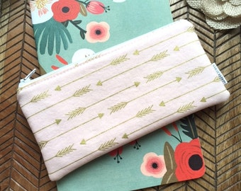 Zip Pouch Gold Arrows on Pink. Cosmetic / Make-up Bag. Gadget / Pencil/ Phone Case