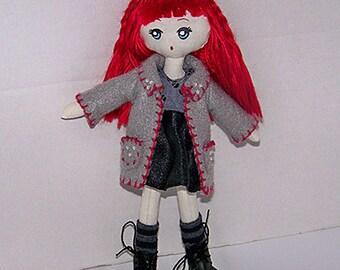 Brittany, OOAK handsewn doll, cloth doll, fabric doll, rag doll, handmade doll, kawaii