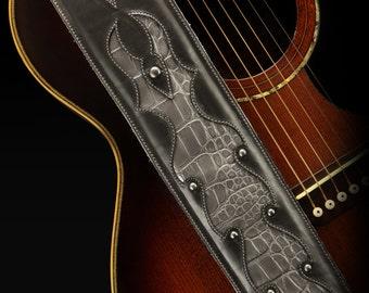 Black Guitar Strap, Custom Leather Guitar Strap: Argenta Guitar Strap