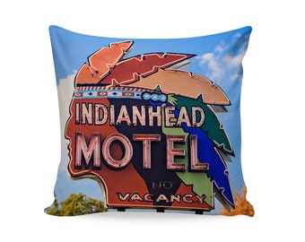 READY TO SHIP | 18x18 Pillow Cover | Indian Head Motel Neon Sign | Mid Century Pillow | Decorative Pillow Cover | Retro Motel Sign Pillow