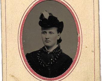 Tintype Photograph Identified woman, interesting
