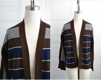 1970s Brown Striped Cardigan Sweater