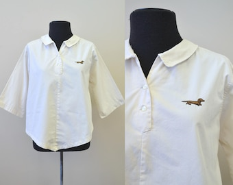 1960s Ship'n Shore Dachshund Cotton Shirt