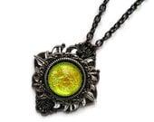 Victorian Necklace, Handmade Glass Opalite Yellow Sunburst, Renaissance Necklace, Color-Shift