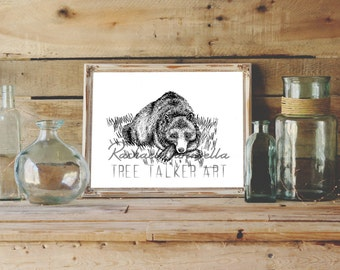 Sleepy Bear illustration- Giclee Fine Art Print - Pen and Ink Illustration - Sleepy Bear Drawing - Artist Rachael Caringella