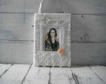 french country collage lace collage wall decor door hanger cottage chic vintage chic altered canvas collage girl art vintage style art