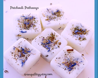 Patchouli Soy Wax Melts , Patchouli Pathways Dried Flower and Soy Wax Design Wax Melt, Handmade By: tranquilityy