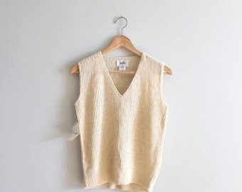 SPRING SALE vintage cream rib knit sweater vest - new old stock crochet sweater vest / Laura Yang - oatmeal hand loomed ribbed knit / 80s sw