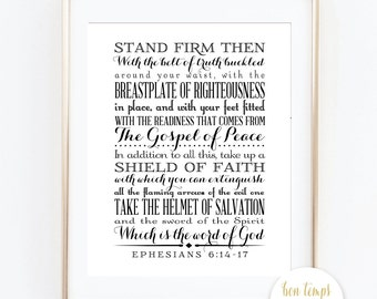 """Ephesians 6:14 - 17 - 8x10"""" - INSTANT DOWNLOAD - Stand firm then, with the belt of truth buckled around your waist, with the breastplate..."""