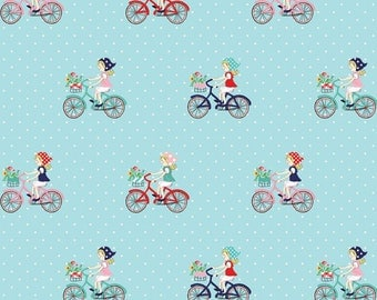 Tasha Noel for Riley Blake Designs - VINTAGE MARKET - Vintage Bicycle Ride - Aqua - Cotton Fabric - 1 yard