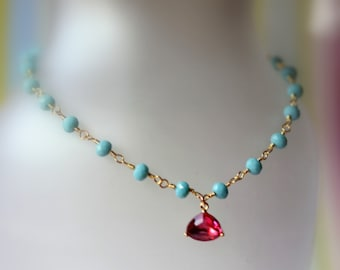 Turquoise Beaded Necklace, Ruby Pink Pendant Necklace, Charm Necklace, Rosary Chain Necklace, Bridal Jewelry, Modern, Holiday Gift for Her