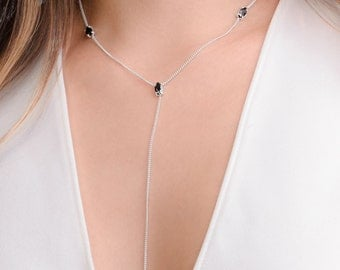 Black Zircon Lariat Necklace, Sterling Silver, Gold Plated, Y Shaped Necklace, Minimalist Drop Necklace, Gift for Mom, Lunai, NCK003BCN