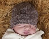 Baby  Hat - Mocha Brown Organic Cotton Hemp Jersey -  Eco Friendly  - Newborn - Baby Shower