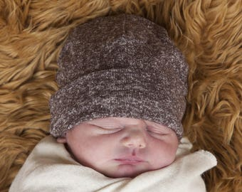 Baby  Hat - Mocha Brown Organic Cotton Hemp Jersey -  Eco Friendly  - Newborn - Baby Shower