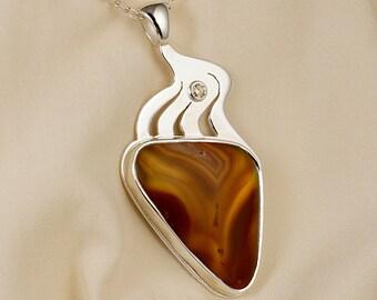 Laguna Agate Champagne Diamond Pendant Necklace in Sterling Silver